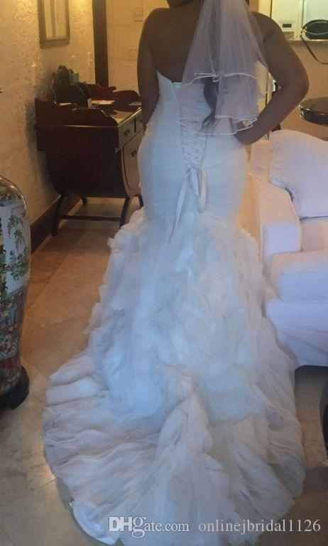 Amazing Mermaid Sweetheart Dropped Waist Corset Back Tulle and Organza Ruched Swirling Rose Vestido De Noiva COR-345 Wedding Dress