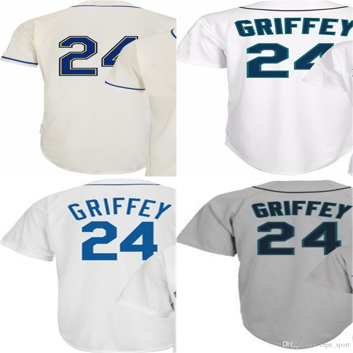 2016 New  24 Ken Griffey Jr Jersey Seattle Throwback Jerseys Cool Base Mens  Baseball Home Away White Grey Embroidered Logo 24 Ken Griffey Jerseys  Seattle ... 0cc90adb7d0e