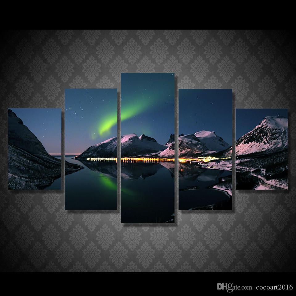 Online Cheap Framed Hd Printed Northern Light Aurora Picture Wall ...
