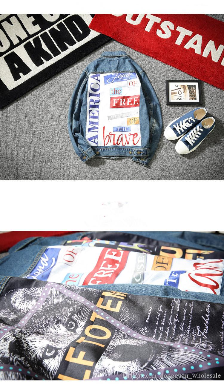2017 Men's Denim Jacket fashion Jeans Jackets Slim fit casual streetwear Vintage Mens jean clothing Plus Size Plus Size M-5XL