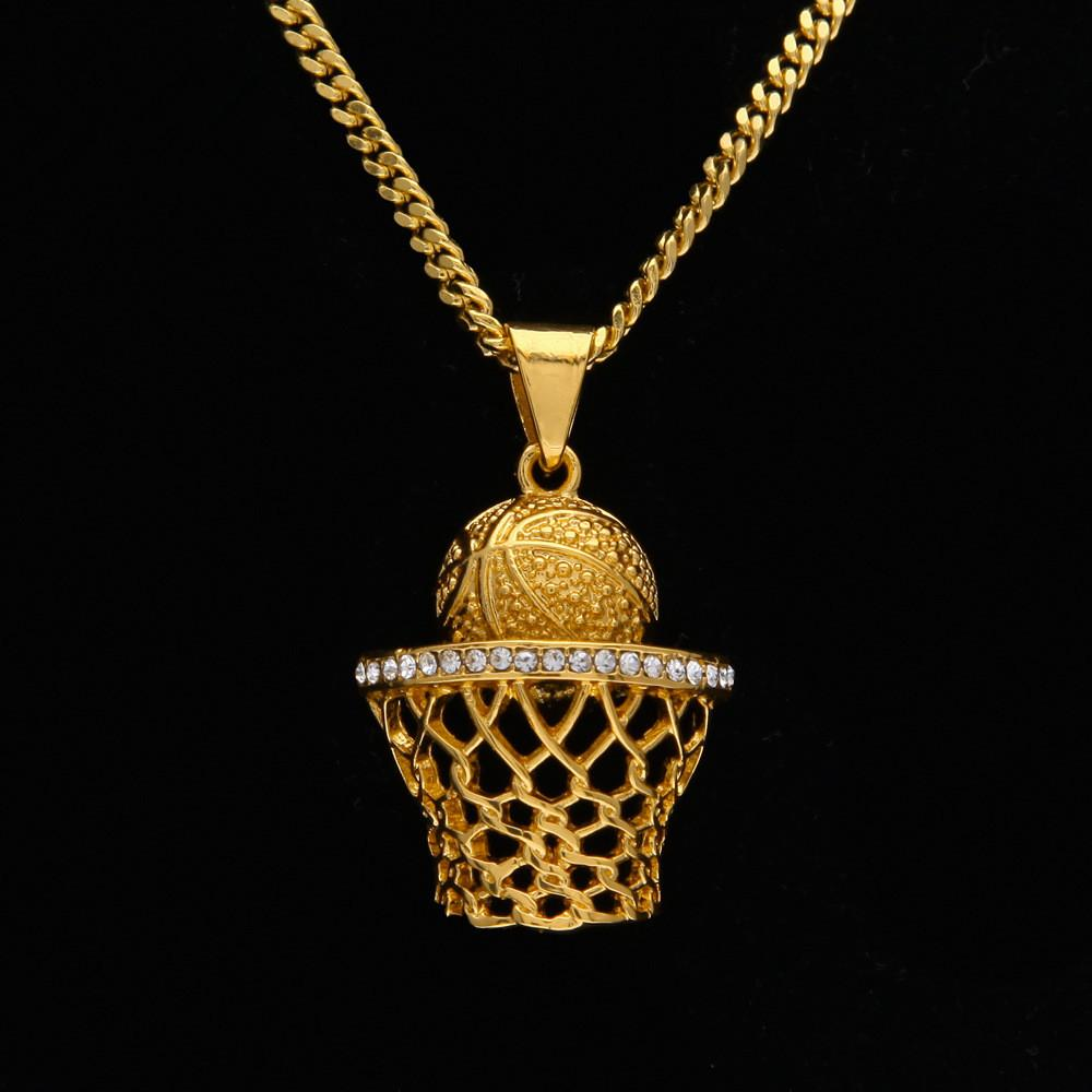 Wholesale Mens Hip Hop Chain 18k Gold Plated Basketball Frame