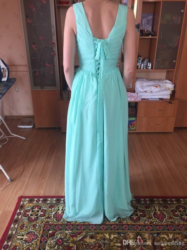 Vestido de dama de honor largo de gasa verde menta y encaje hasta 2019 Vestidos de dama de honor plisados junior Longitud del piso 100% Imágenes reales