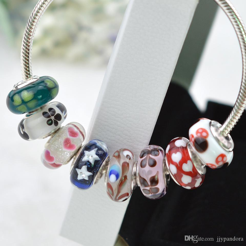 EDELL 100% 925 Sterling silver Mixte Couleur Argent Cordon fileté Trou Perles Charms Fit Murano Pandora Bracele DIY Cadeau