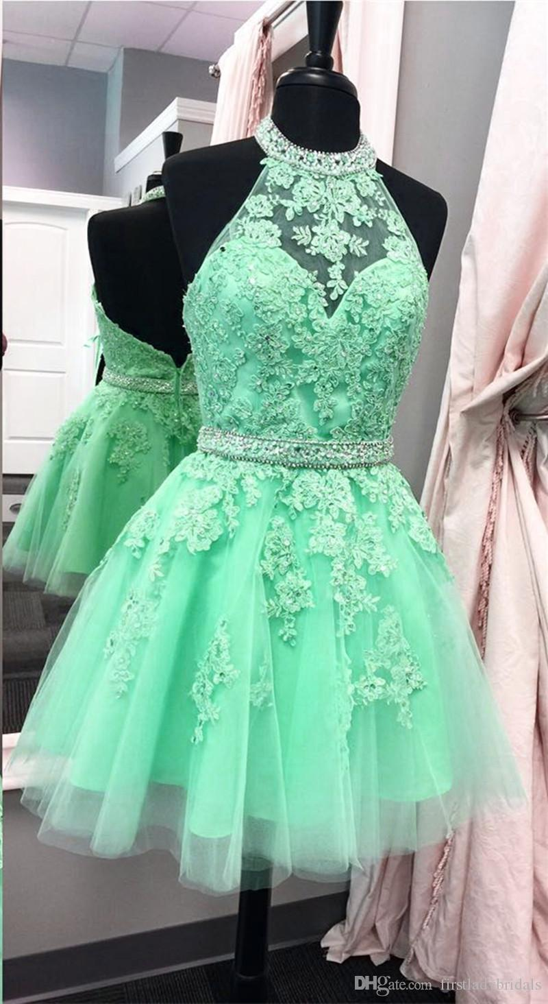 Mint Green Halter Short Cocktail Homecoming Party Dresses Appliqued Lace With Sash 2017 Mini Backless Prom Gowns Actual Image