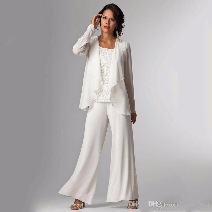 2019 Elegant Evening Mother of The Bride Dresses Ankle Length Long Sleeve Jackets Lace Pant Suits for Women Mother Groom Plus Size Gowns