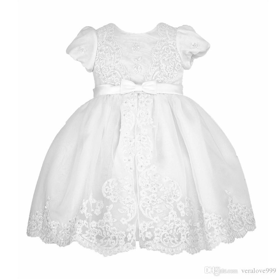 طفل التعميد اللباس نفخة قصيرة الأكمام ألف خط طول الكاحل جودة عالية vestidos infantil طفلة ملابس فساتين المعمودية