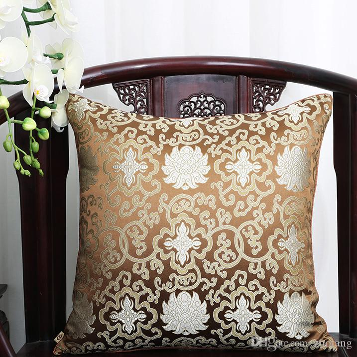 Lucky Flower Vintage Pillow Cover Cushion Christmas Decorative Chinese Silk Cushions Car Sofa Chair Square Cushion Back support Pillow
