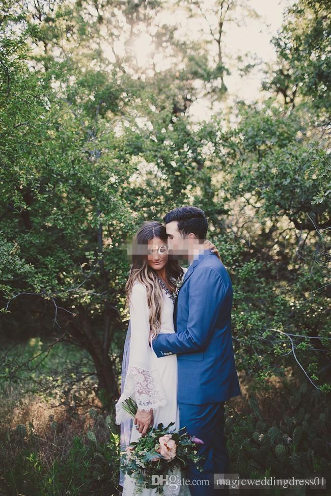 Старинные свадебные платья с длинным рукавом кружева длина пола оболочки шифон 2016 дешевые плюс размер хиппи страна свадебные платья спинки