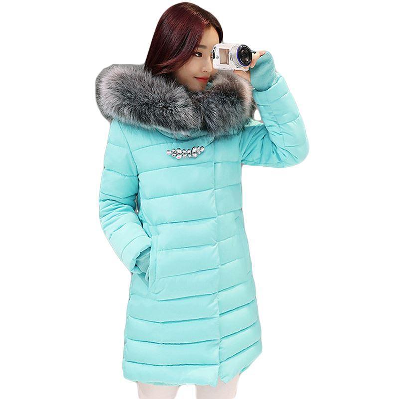 2017 neue winterjacke frauen lange dünne große pelzkragen kapuze frauen baumwolle mantel dicke weibliche wattierte jacke plus größe parka