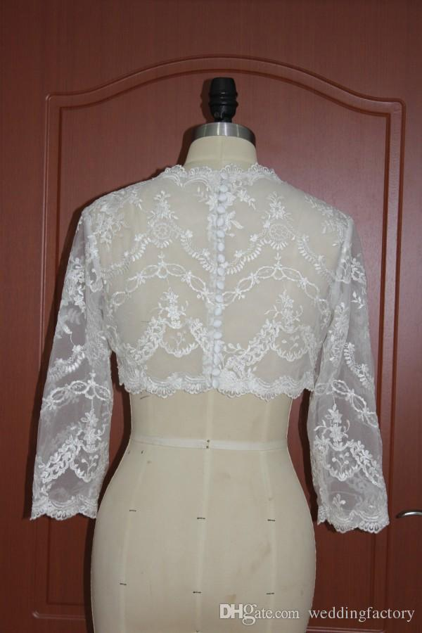 2017 Exquisite Lace Appliques Sheer Bolero Wedding Bridal Lace Jackets Illusion Jewel Neck 3/4 Sleeves Buttons at Back Real Pictures