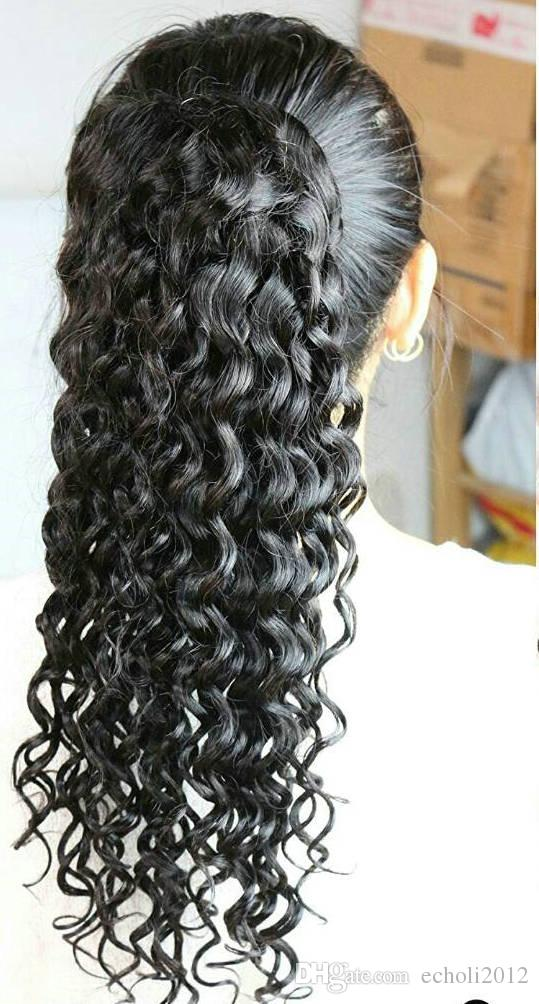 120g kinky curly drawstring ponytail clip in deep curly brazilian remy hair ponytails hair extension free ship natural black hair piece 1b