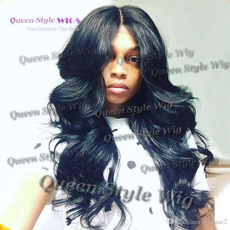 Synthetic Long Body Wave Haistyle Lace Front Wig Big Sexy Deep Wave Middle Part Heat Resistant Hair Wig African American Lace Front Wigs