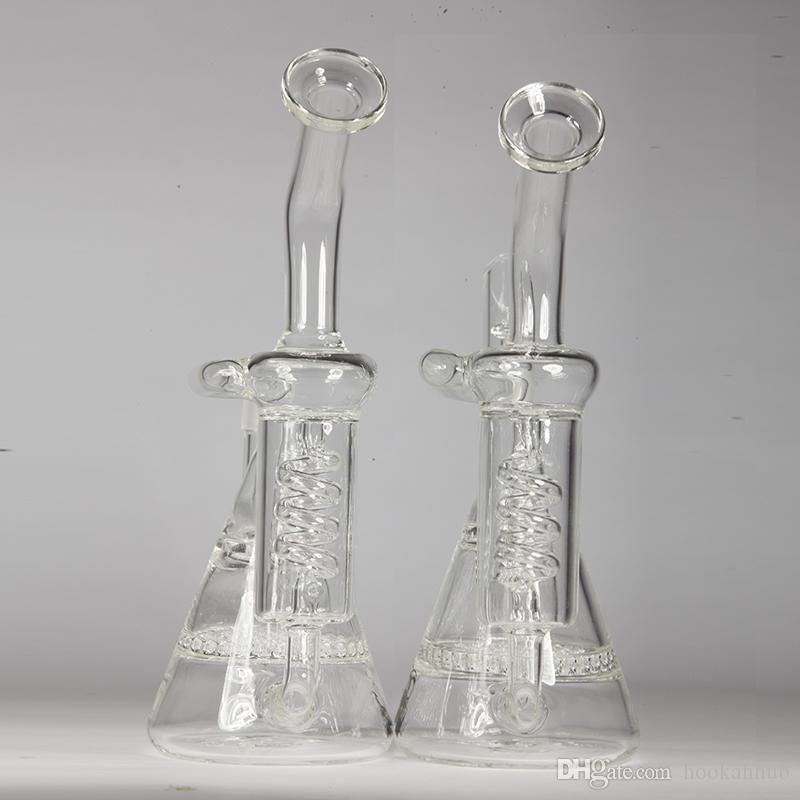 Glass Water Bongs Oils Rig Recycler Bong 14.4mm Joint Honeycomb Perc and Vortex Percolator with Two Functions 8 inch Height Bongs with Logo
