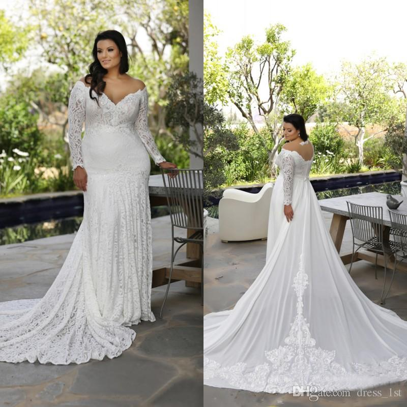 fe673b8993b Latest 2018 Sheer V Neck Long Sleeve Lace Mermaid Wedding Dresses Plus Size  With Detachable Train Long Bridal Gowns Custom EN8103 Style Wedding Dresses  V ...