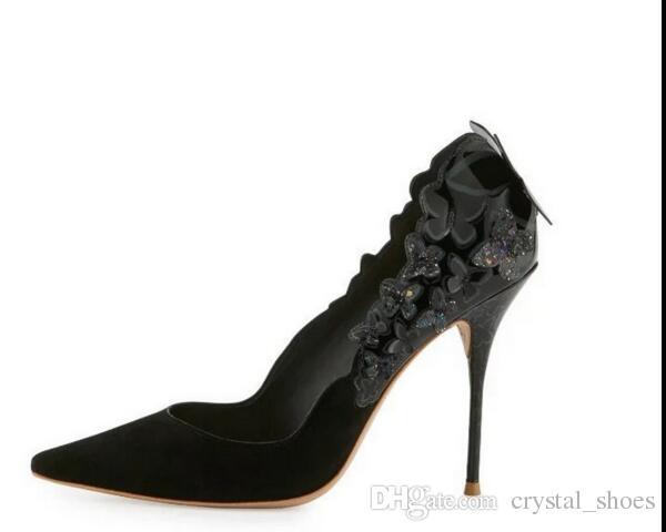 Yüksek kaliteli modası papyon kadın düğün ayakkabı pompaları zarif baskı deri kadın parti pompaları slip-on ince yüksek topuklu ...