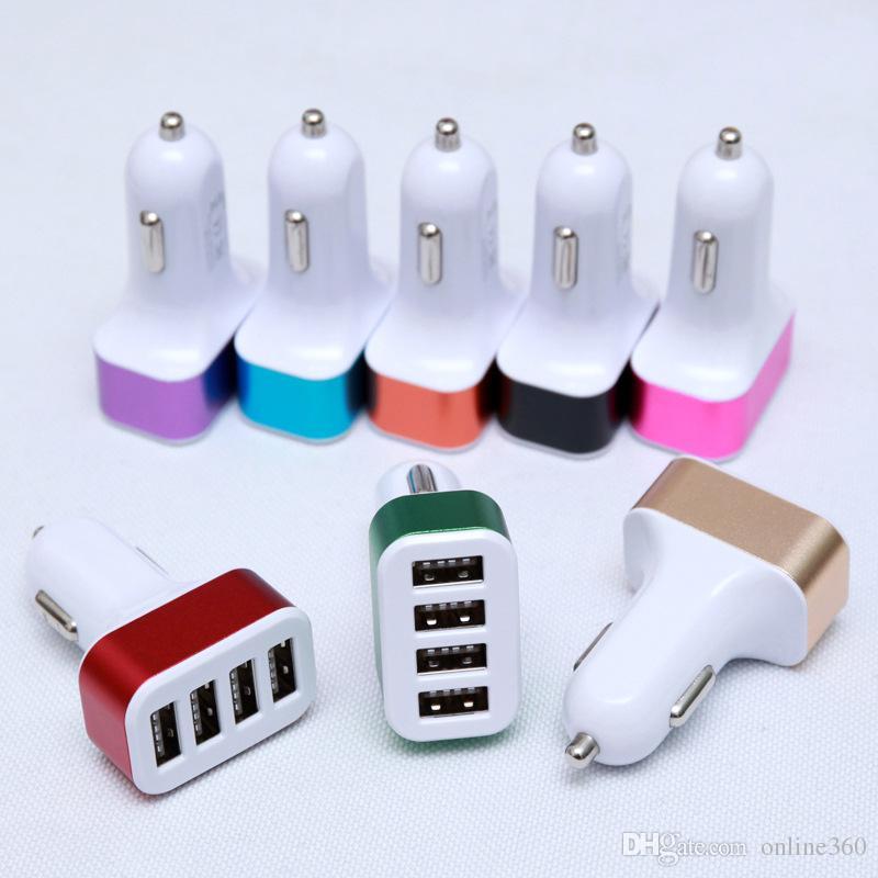 4 puertos usb cargador de coche universal colorido puerto usb multi cargador de coche encendedor de cigarrillos adaptador de inversor de energía para iphone ipad Samsung LG