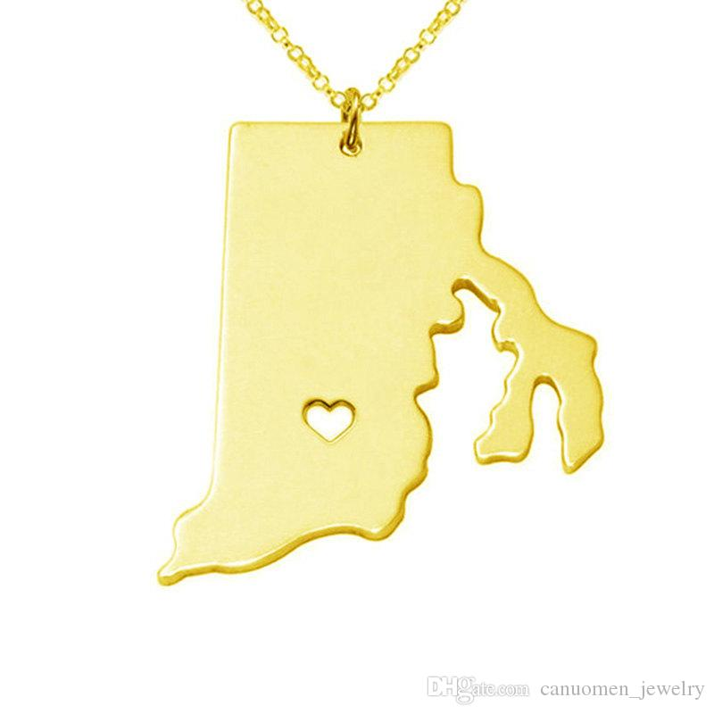 Rhode island Map Stainless Steel Pendant Necklace with Love Heart USA State RI Geography Map Necklaces Jewelry for Women and Men