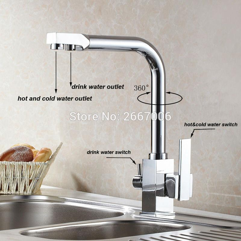 Wholesale Drink Water Faucet Kitchen Sink Mixer Tap Chrome Brass
