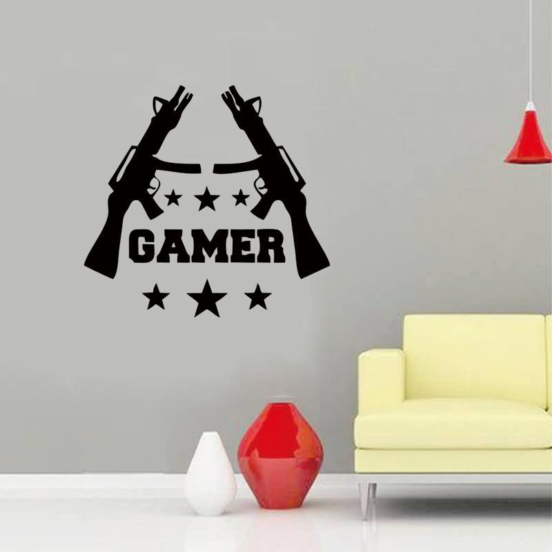 New style gamer wall stickers games room video game gun play vinyl decal best decoration diy decorative stickers for walls decorative vinyl wall decals from