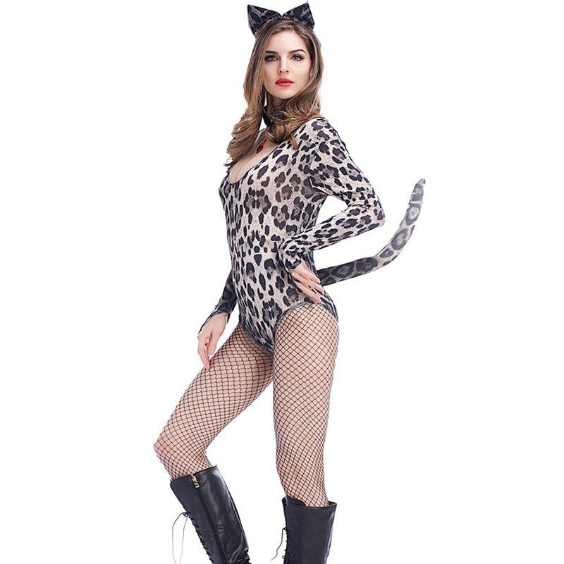 Grey Leopard Print Jumpsuit Women Deep V-neck Rompers Short Leotard Long Sleeve Bodysuit Halloween Cat Cosplay Costume
