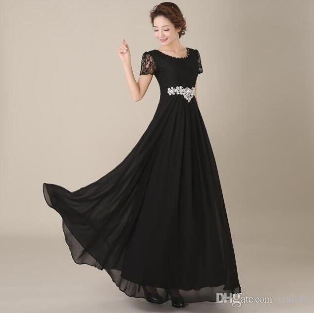 Lace Formal Modest Black Sleeved Dress Party Evening Gown Elegant To ...