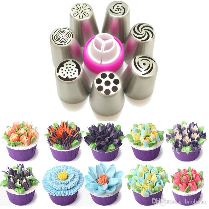 ensemble acier inoxydable russie tulipe glaçage tuyauterie convertisseur de buse de décoration de gâteau conseils de cuisson outil