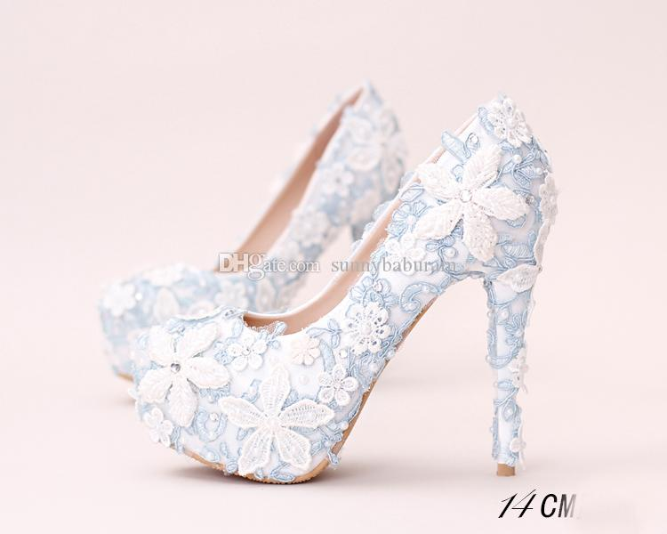 96769467767 White Blue Lace Applique Bridal Bridesmaid Wedding Shoes 2017 Prom Evening  Night Club Party Super High Heels Hand Made Wedding Shoes Platform Wedding  Shoes ...