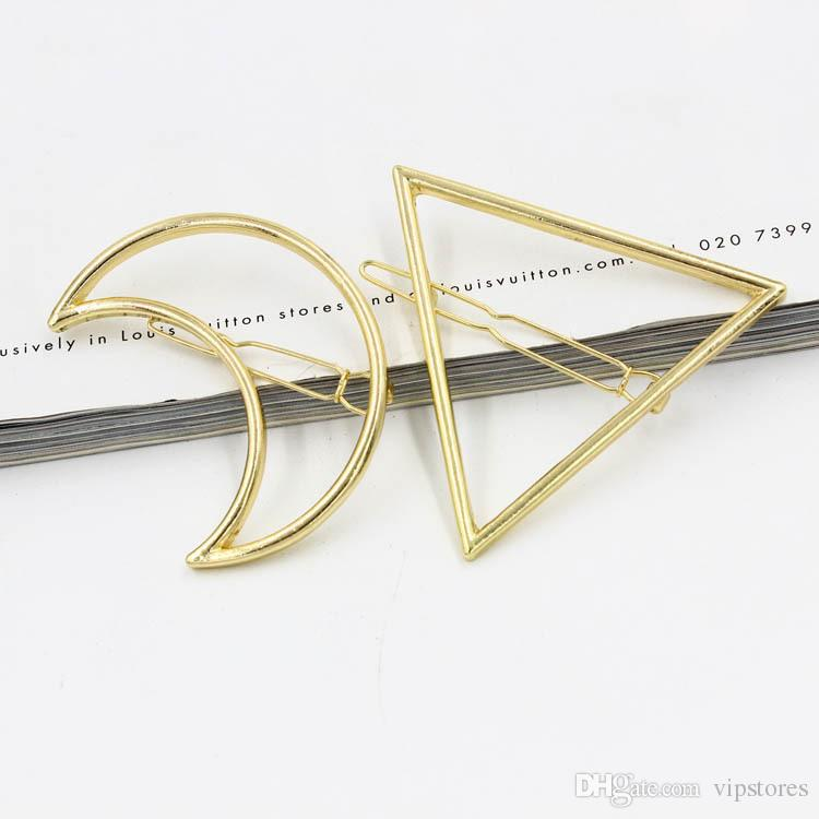 Punk Hollow Moon Triangle Barrettes Hair Clip Jewelry Gold Silver Plated Lip Circle Geometry Hair Pin Edge Clip Hair Accessories for Women