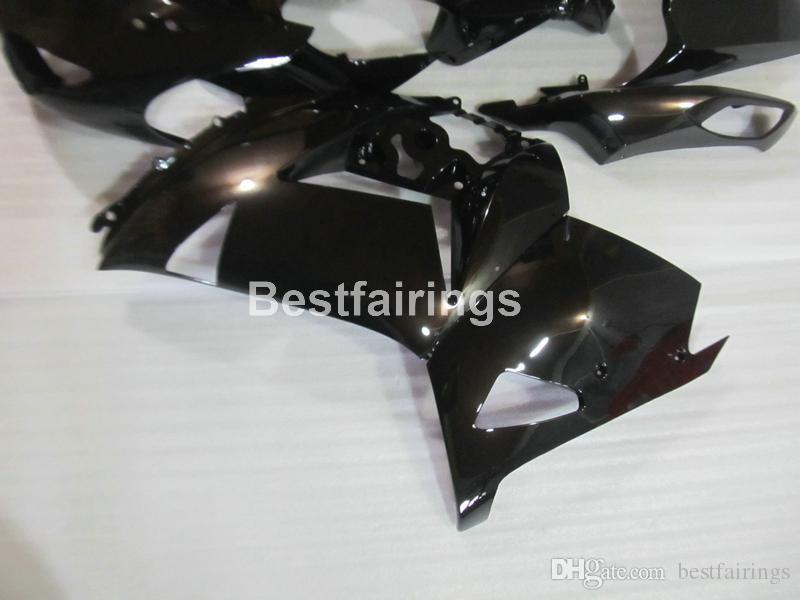 100% apto para molde de inyección Kawasaki Ninja ZX14R 06 07 08 09 10 11 carenados de color negro brillante ZZR1400 2006-2011 OP08