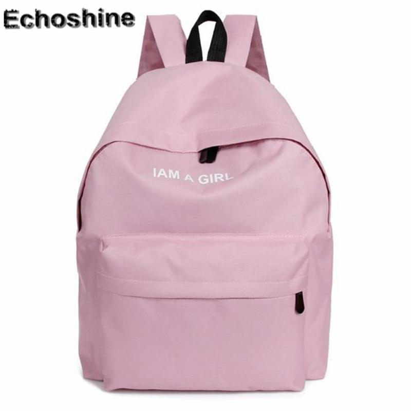 Wholesale New Fashion Boys Girls Unisex Canvas Rucksack Backpack I AM A GIRL  Letters Print School Book Shoulder Bag Casual Travel Bags Pink Backpacks ... cac372fb18