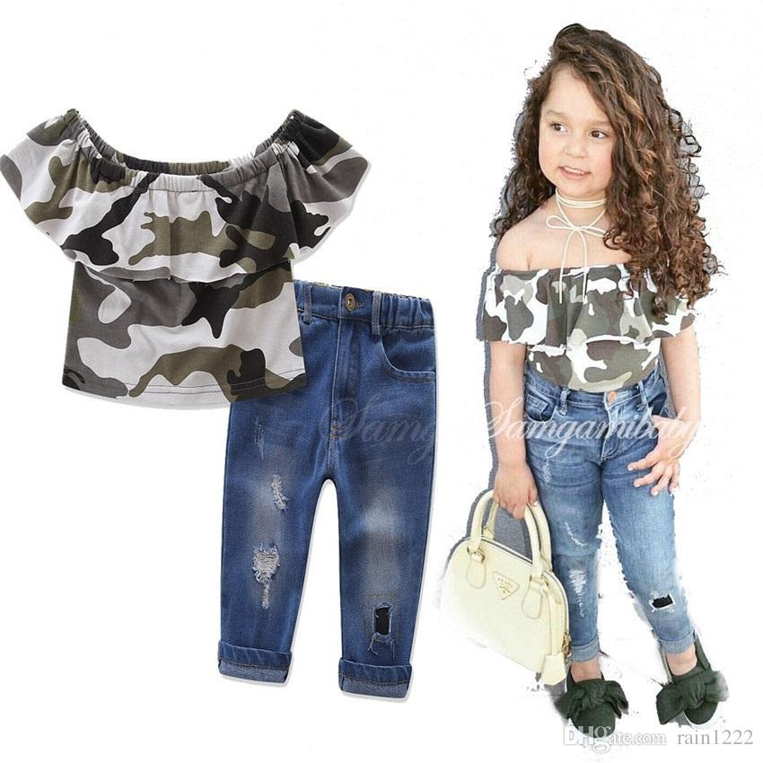 9fec5a5e5099 2019 Girls Kids Shirts Tees Jeans Suits Outfits For Children Baby Strapless  Ruffles Camouflage Tops Ripped Jeans Denim Pants Clothing Sets Suits From  ...