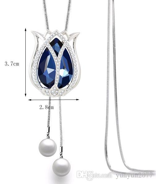 Fashion Inspiration Accessories Jewelry Czech Crystal Flower Tulips Pendant Pearls Bead Real Gold Plating Charm Sweater Necklaces For Women