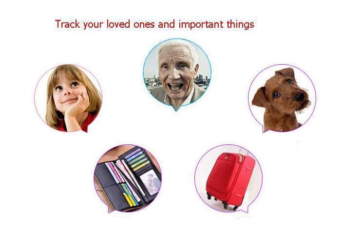 nuovo Mini GPS Tracker Bluetooth Key Finder Allarme 8g Trova oggetti a due vie bambini, animali domestici, anziani, portafogli, auto, pacchetto di vendita al dettaglio del telefono