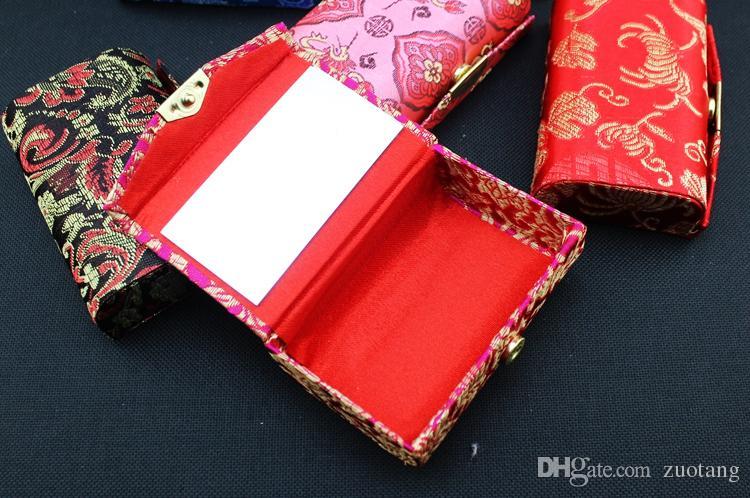 空の二重口紅の箱のミラーヴィンテージリップバームチューブ花絹錦の葉の光沢収納ボックス包装容器12個/ロト