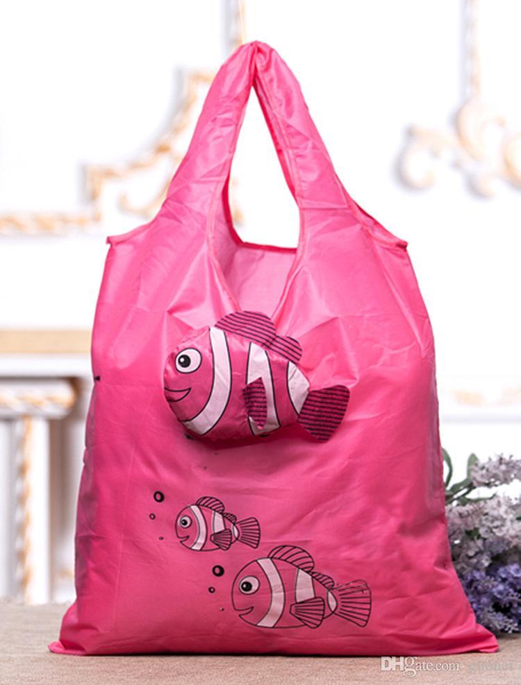 الساخن بيع هيئة التصنيع العسكري الجديد العديد من الألوان الأسماك الاستوائية طوي البيئية التي يعاد استخدامها سيدة أكياس التسوق 38CM x58cm حقائب امتعة hanbags