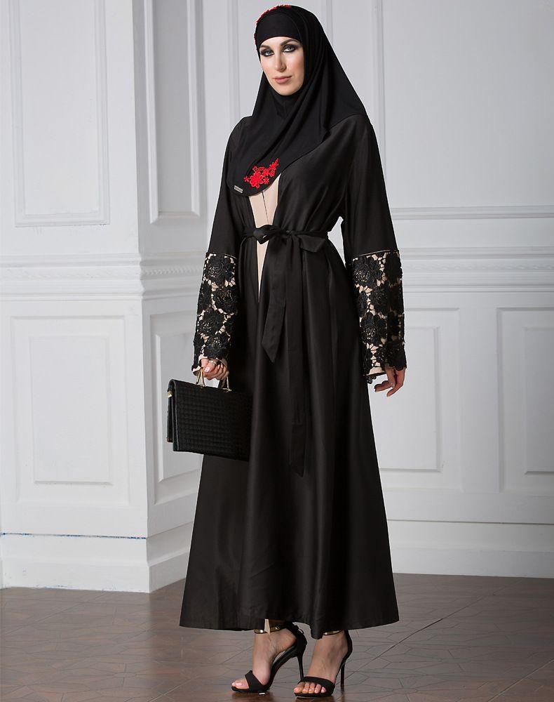 Long lace cardigan - 2017 Womens Elegant Modest Muslim Clothing Islamic Dubai Turkey Abaya Coat Full Length Lace Long Trench Coat Open Front Cardigan From Donnatang240965