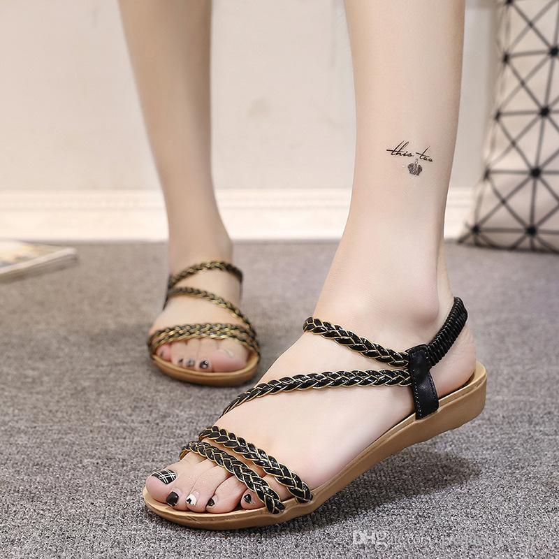 dda401dd6d74 Women S Sandals Korean Style Roman Shoes Braid With Flat Sandals Black Open  Toe Elastic Band Gladiator Sandals 017 Brown Wedges Gold Wedges From ...