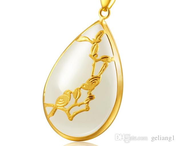 Золото инкрустированные Джейд капли белой воды сорока на Мэй талисман ожерелье кулон улыбки