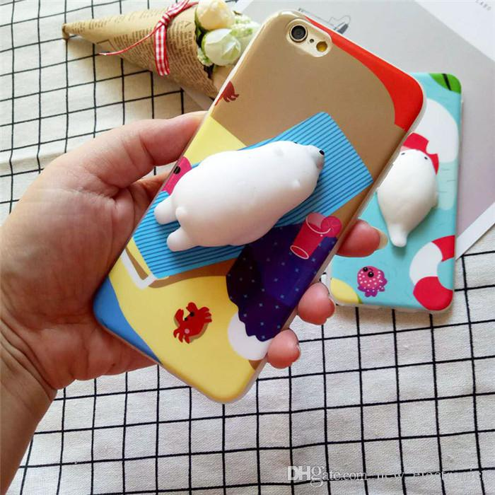 Lovely Squishy Toys 3D Soft Lazy Cat Soft Silicone Phone Case Cute Panda Seal TPU Back Cover For iPhone 6/6S/7 Plus