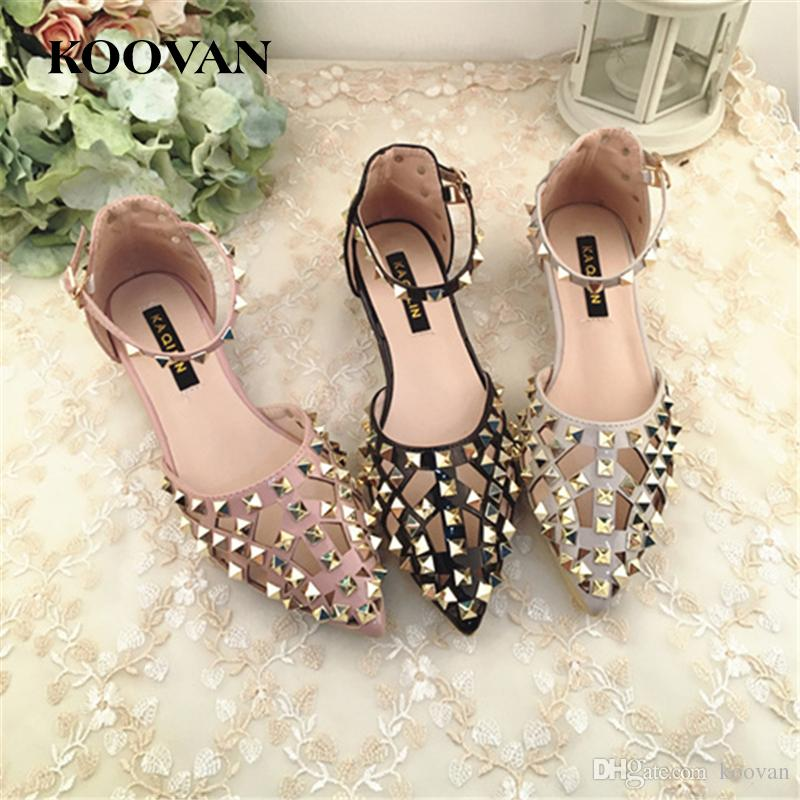 7a73500ce86 Designer Rivets High Heel Women Pump Fashion V One Straps 3 Cm Chunky Heel  Cut Outs Sexy Sandals Pointed Shoes Free Ship R12 Casual Shoes Women Shoes  From ...