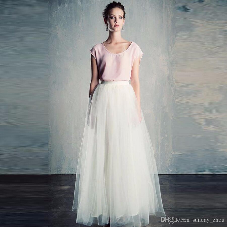 9e3eb64908 Compre Simple Modesto Blanco Pura Falda Larga Una Línea Piso Longitud Maxi  Falda Por Encargo De Buena Calidad Tulle Faldas Mujeres Moda Casual A   52.52 Del ...
