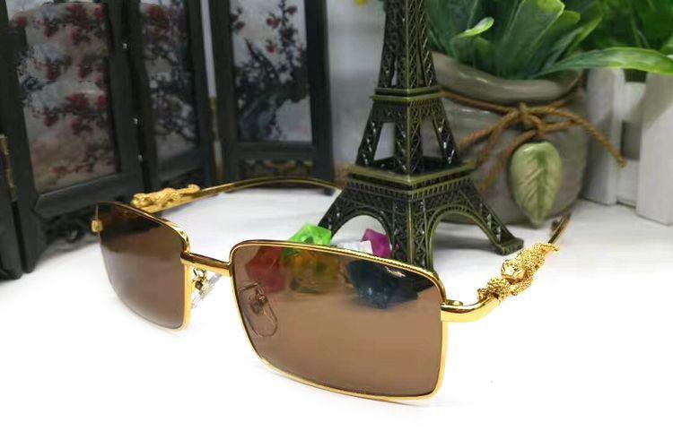 Gold retro rectangle Sunglasses Brands for Women Men Luxury Alloy Three-dimensional Leopard Brand Designer sunglasses With Box and logo