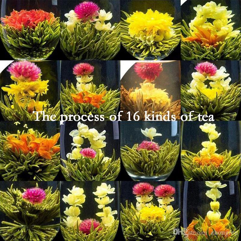 Bir çiçeklenme çiçek çay 16 çeşit çin çay çiçeklenme topları bitkisel el sanatları çiçekler küçük vakum çay hediye çanta içinde