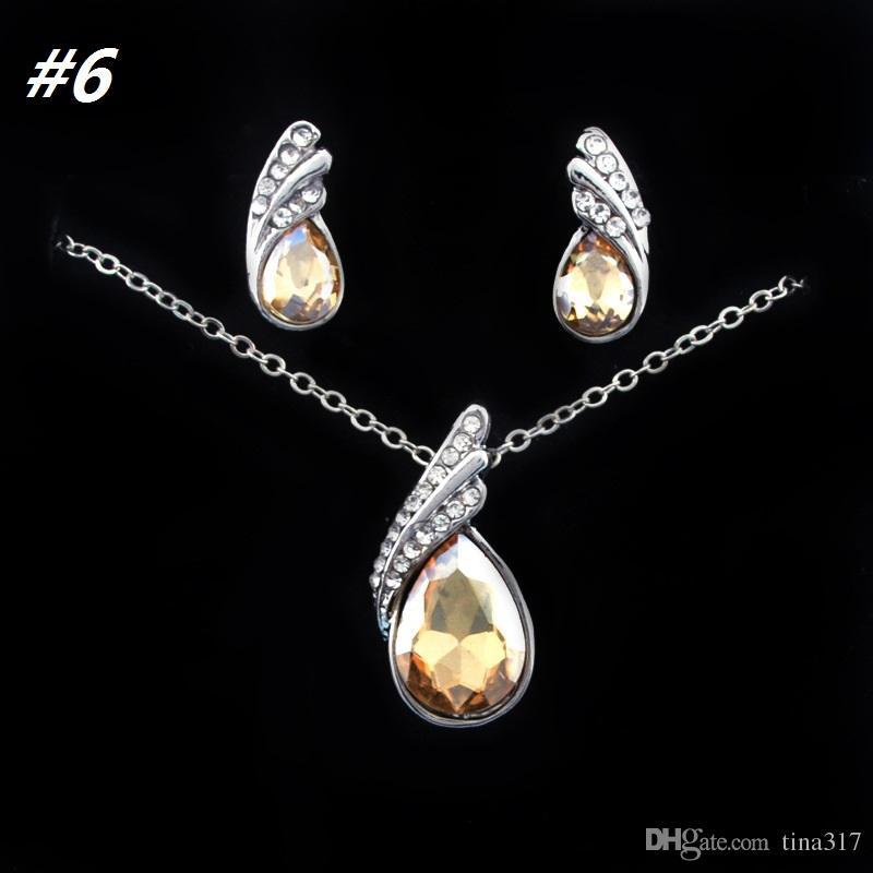 Donne di alta qualità gioielli in cristallo austriaco set con gioielli di cristallo strass collana e gli orecchini della moda Set A0173