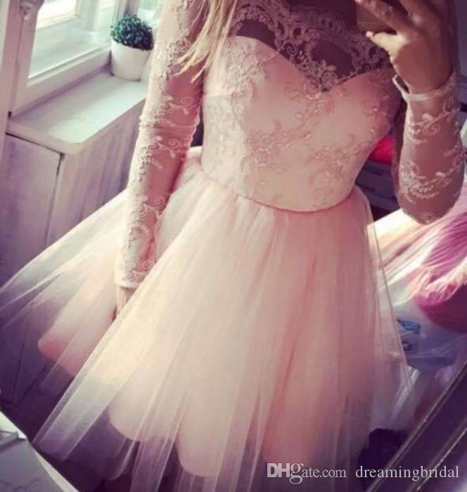 Pink Homecoming Dresses Scalloped Neck Long Sleeve Lace Tull Pretty Prom Dresses Keen Length Sweet 16 Dresses For Gowns