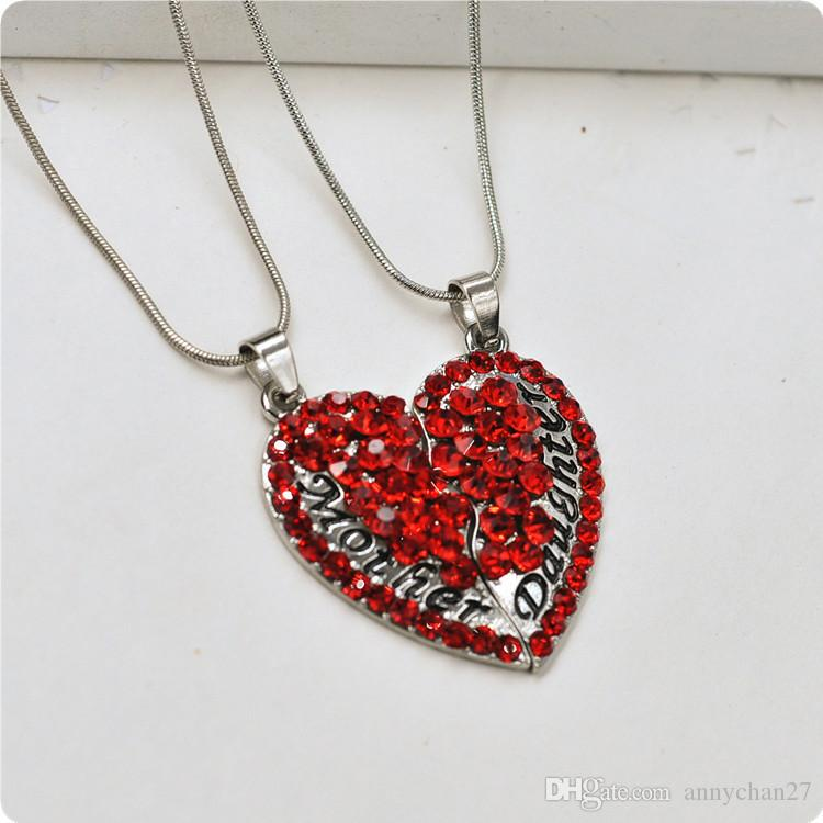 Mom and Daughter heart necklace Set chokers Red Pink Crystal Rhinestone Necklace Gold Jewelry Gift for Mom Alloy Steel Snake Chain free DHL.