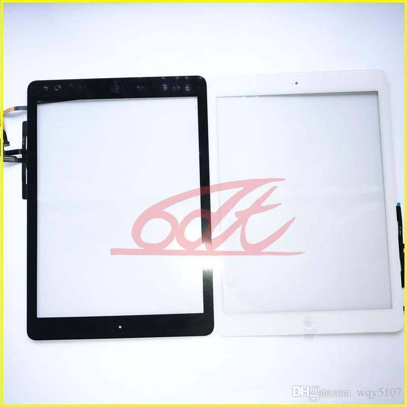 for Ipad Air Digitizer Tablet PC Screen Assembly with home button & preattached adhesive Repair Parts Free DHL