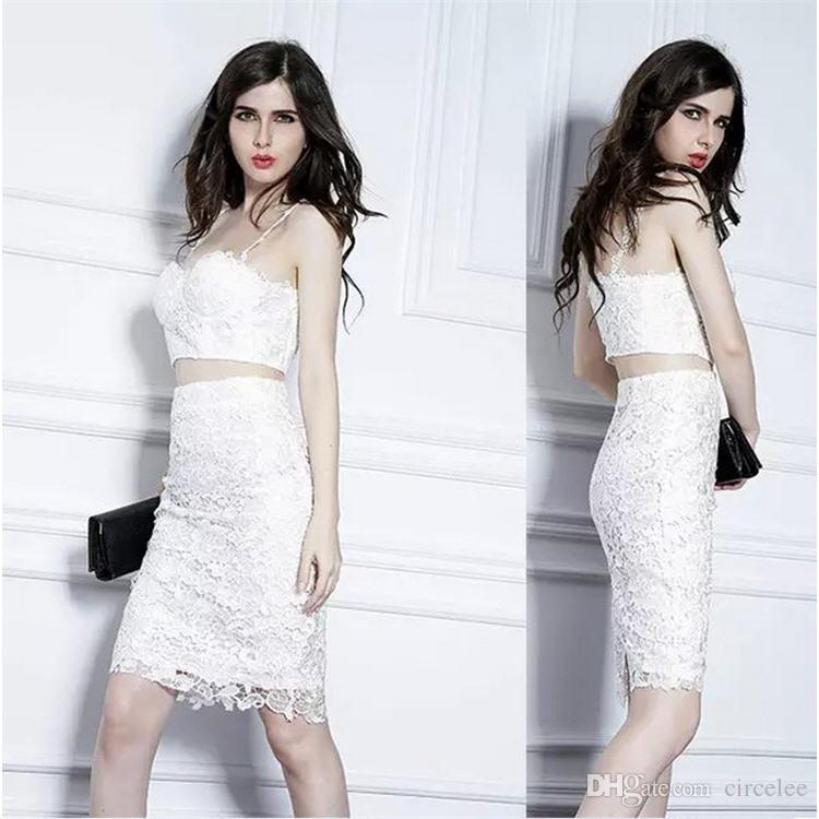 Full Lace Dresses Spaghetti Sexy Evening Dresses Formal Wear Cocktail Party Dresses China Online Cheap Celebrity Short Dresses Abiti Formali