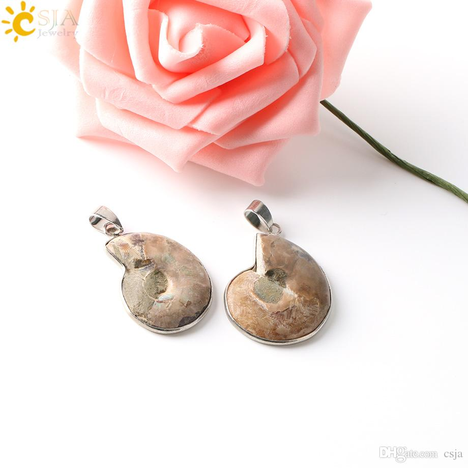 CSJA Pedra Natural Ammonite Fósseis Seashell Caracol Pingentes Oceano Reliquiae Concha Animal Declaração Colares Encantos Das Mulheres Dos Homens de Jóias E252