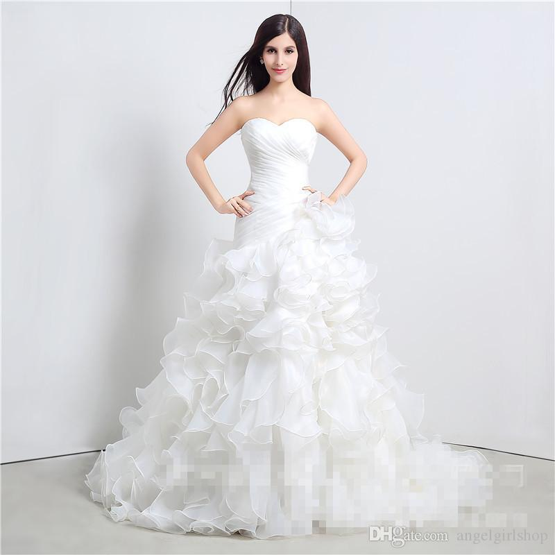 Cheap Stock Wedding Dresses Vestidos De Novia Sweetheart Organza Ruffled Plus Size Corset Bridal Gown With Lace Up Back Mother Of The Groom Dress